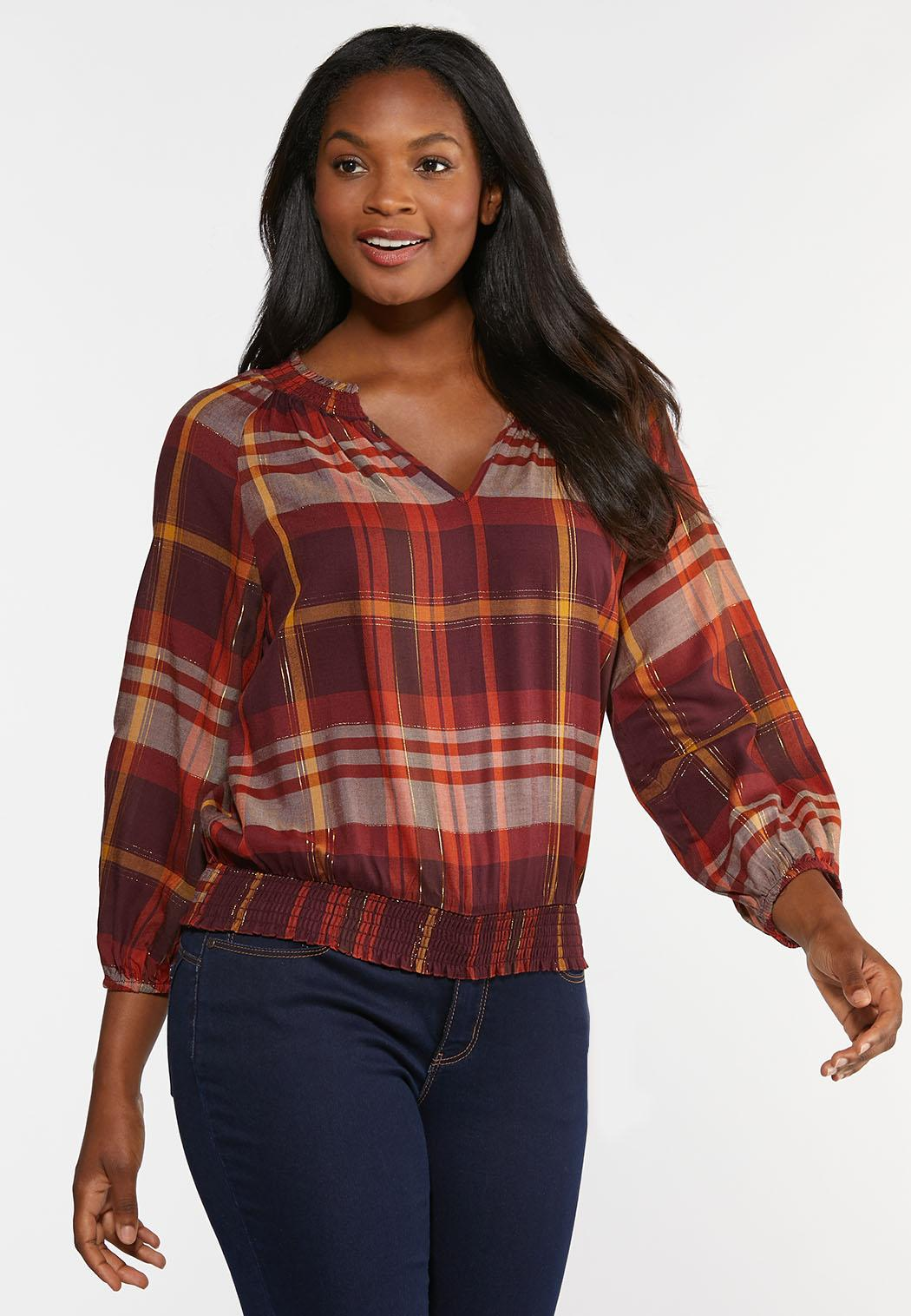 Smocked Plaid Top (Item #44358936)