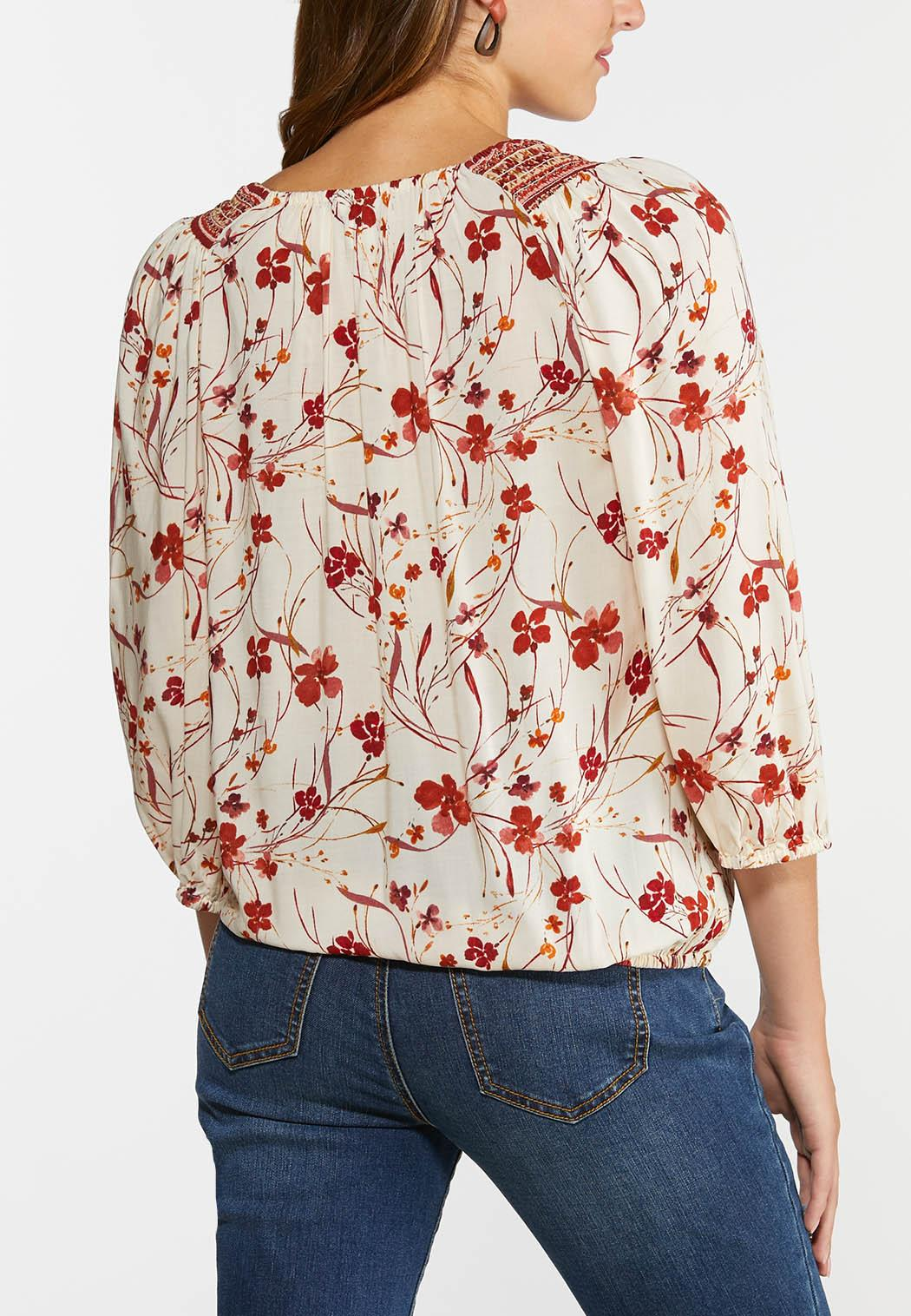 Plus Size Floral Faux Wrap Top (Item #44359001)