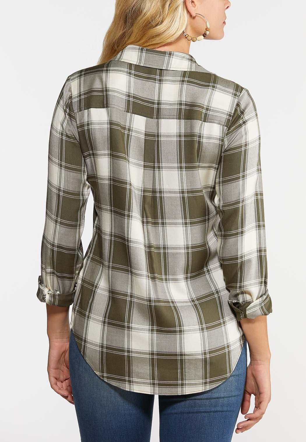Olive Plaid High-Low Shirt (Item #44359184)