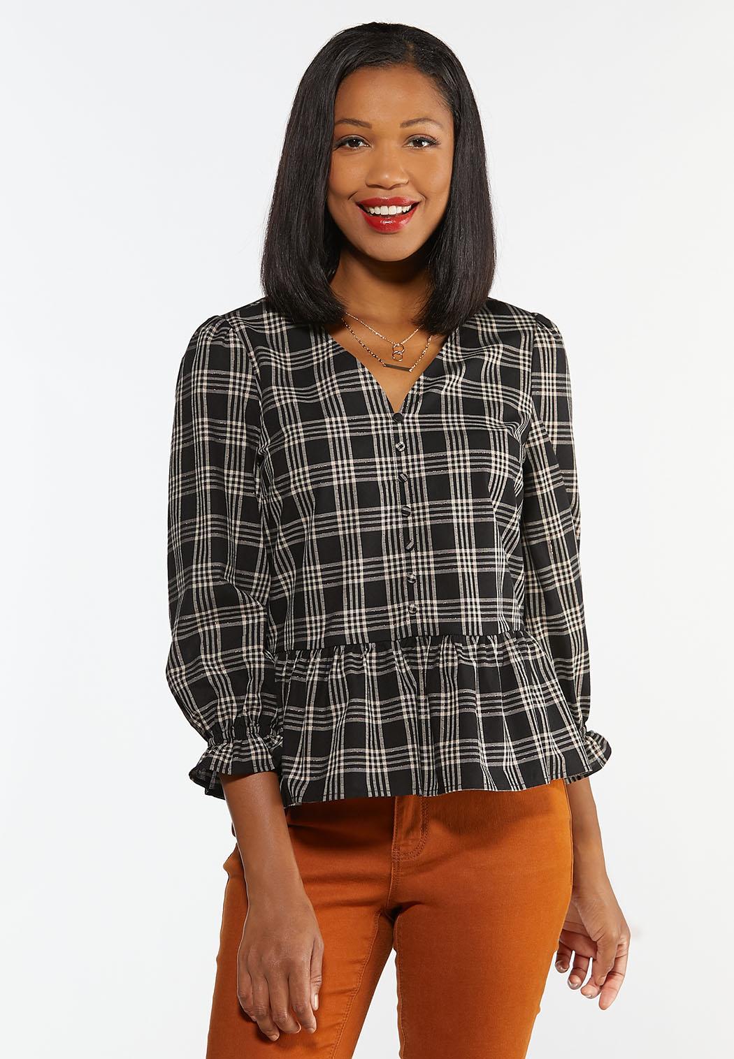 Plus Size Checkered Peplum Top (Item #44359301)
