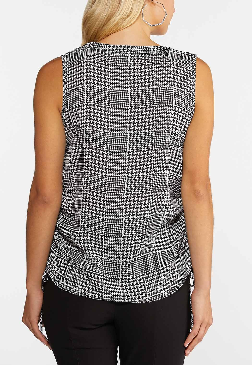 Plus Size Houndstooth Ruched Tank (Item #44360648)