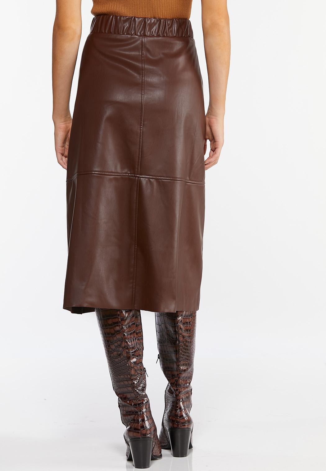 Faux Leather Midi Skirt (Item #44361022)