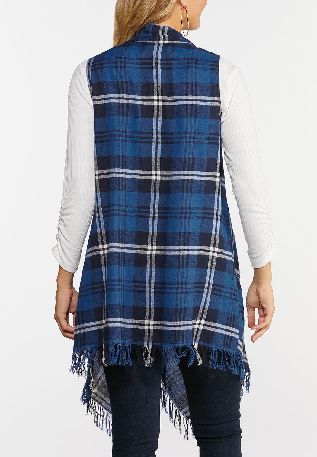 Plus Size Draped Plaid Vest (Item #44362250)