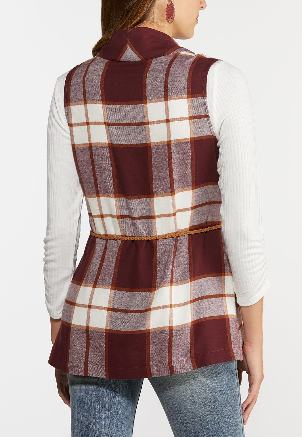 Belted Wine Plaid Vest (Item #44362292)