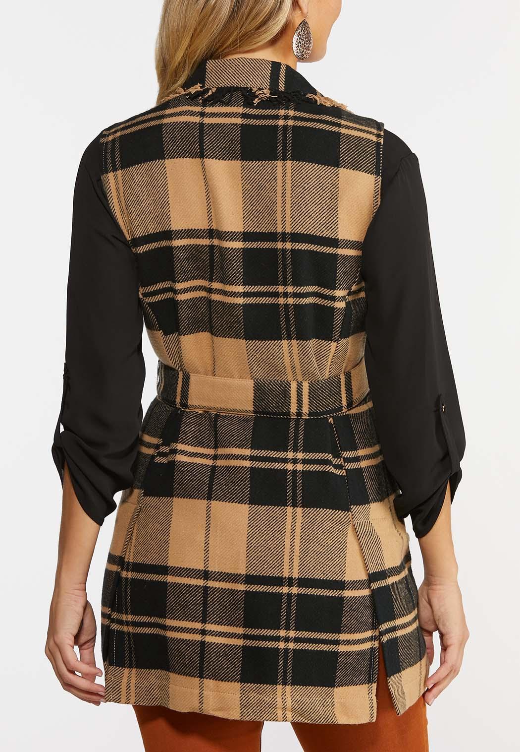 Plus Size Plaid Fringe Trim Vest (Item #44364754)