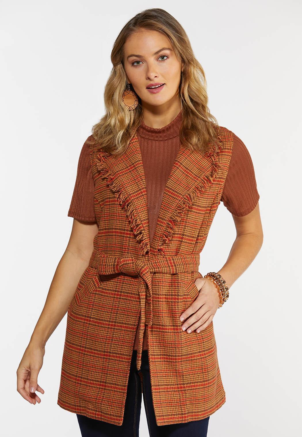 Plus Size Belted Plaid Vest (Item #44364776)
