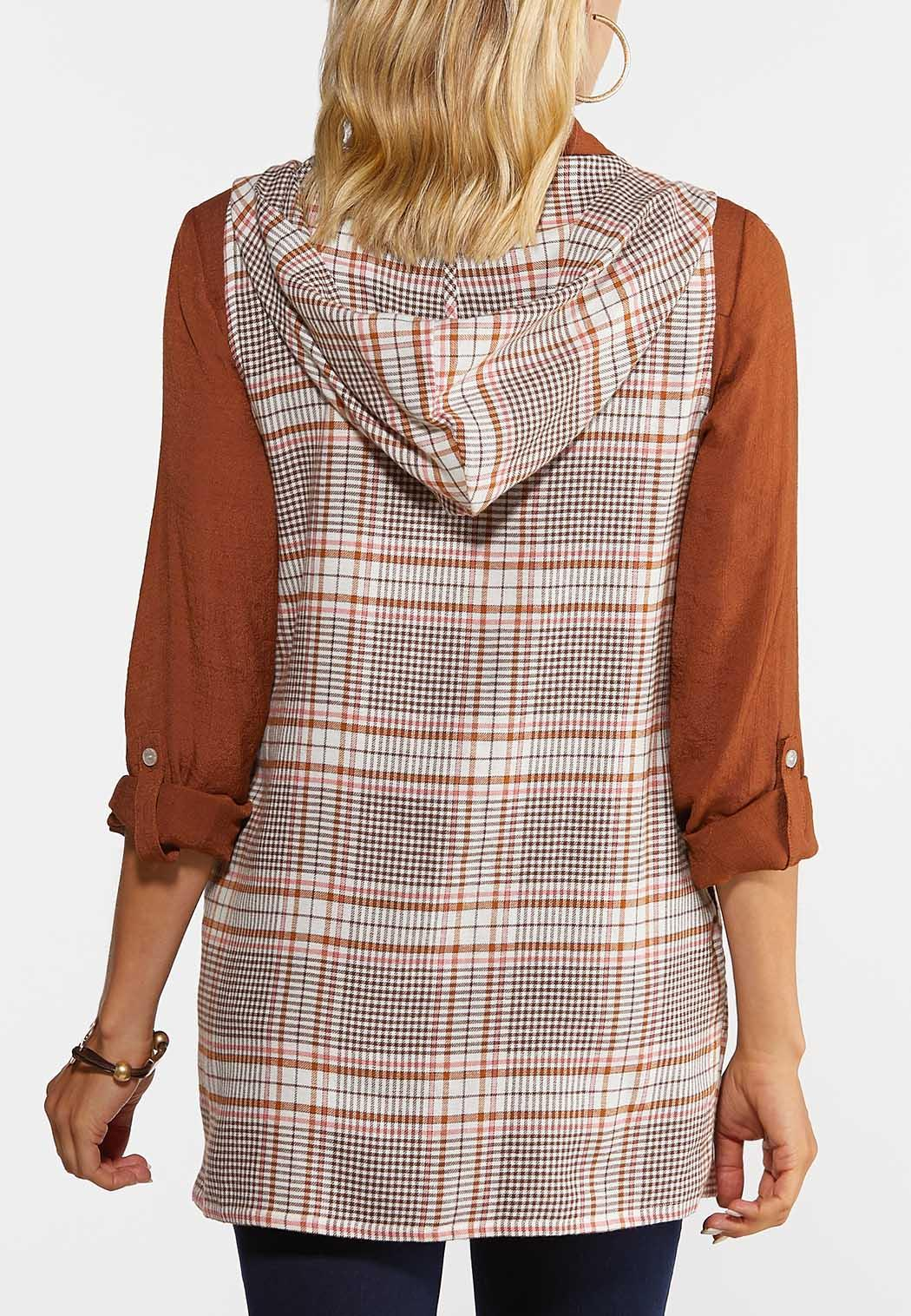 Plus Size Plaid Hooded Vest (Item #44364892)