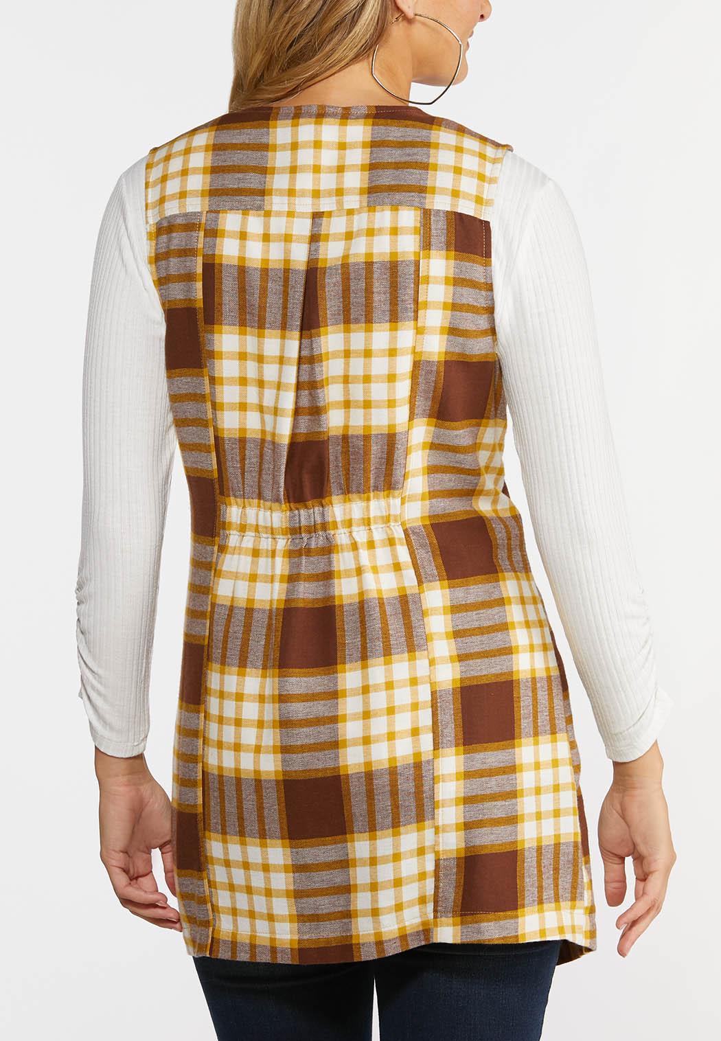 Plus Size Honey Plaid Vest (Item #44365153)