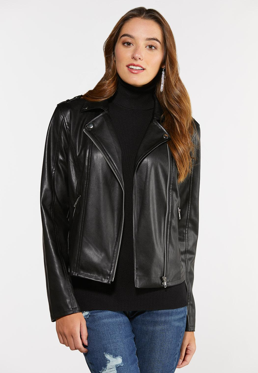 Plus Size Faux Leather Moto Jacket (Item #44366132)