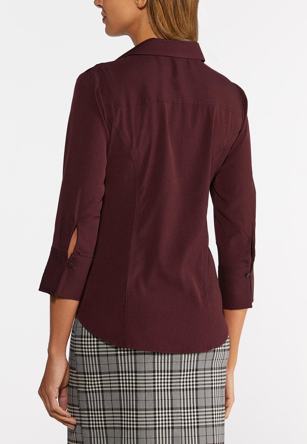 Plus Size Stretch Button Down Shirt (Item #44366788)