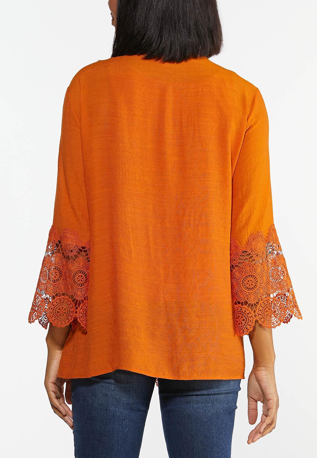 Plus Harvest Crochet Trim Top (Item #44366931)