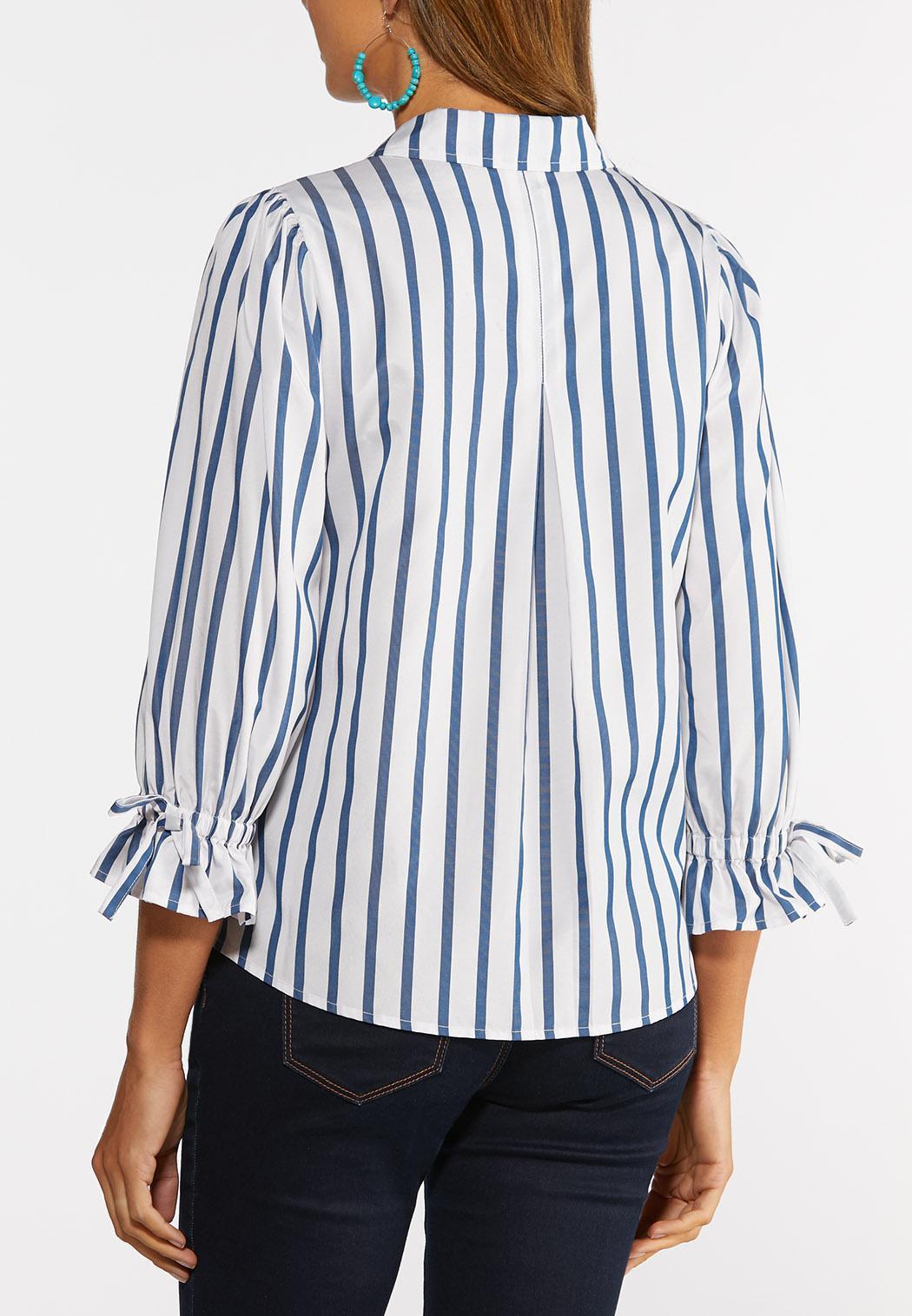 Plus Size Stripe Tie Sleeve Shirt (Item #44366973)