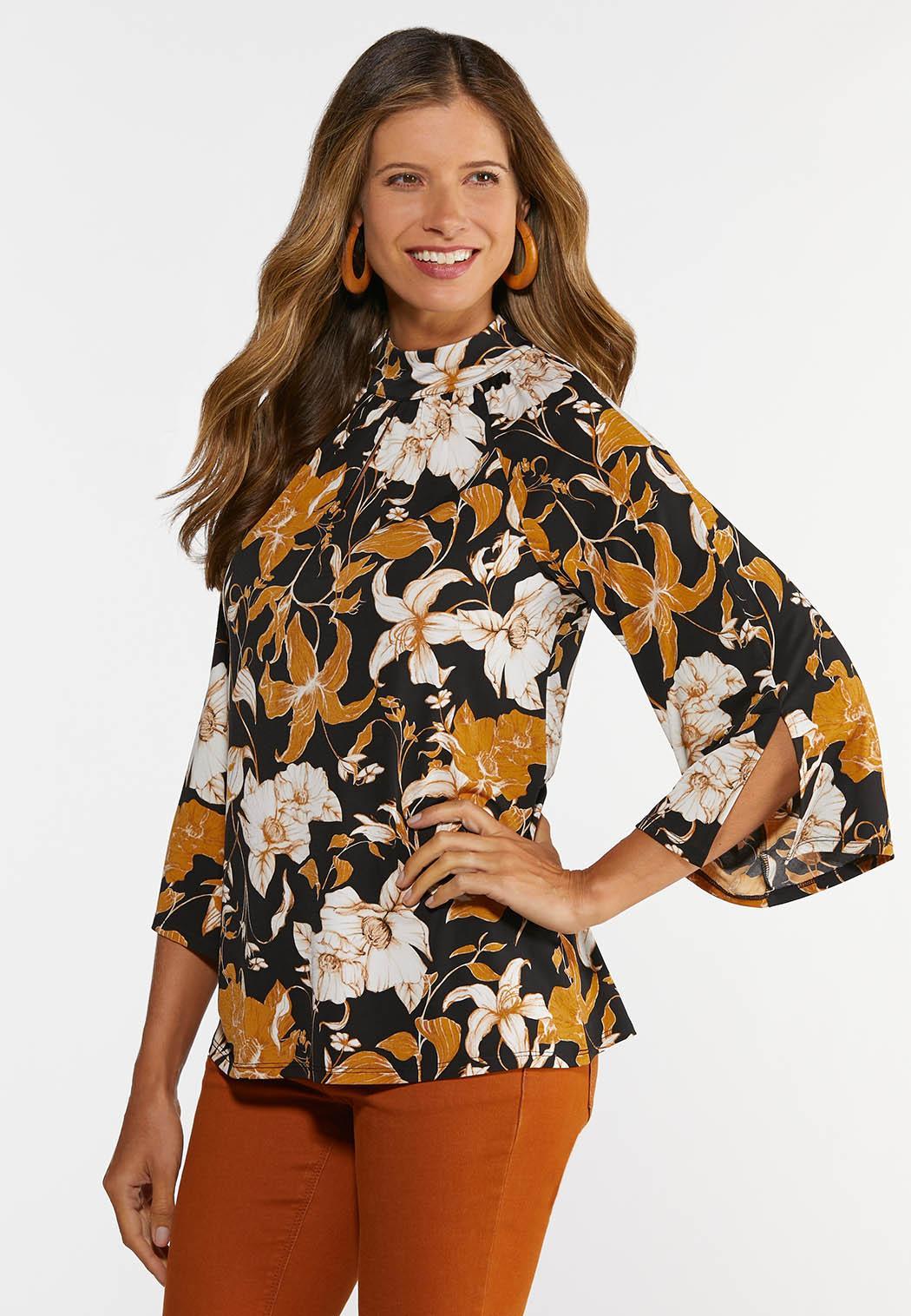 Plus Size Floral Mock Neck Top (Item #44367283)