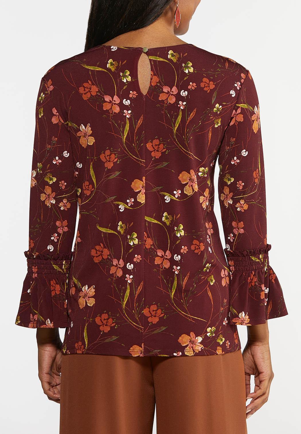 Plus Size Wine Floral Top (Item #44367399)