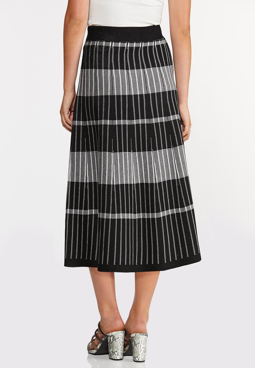 Plus Size Stripe Plaid Sweater Skirt (Item #44368387)