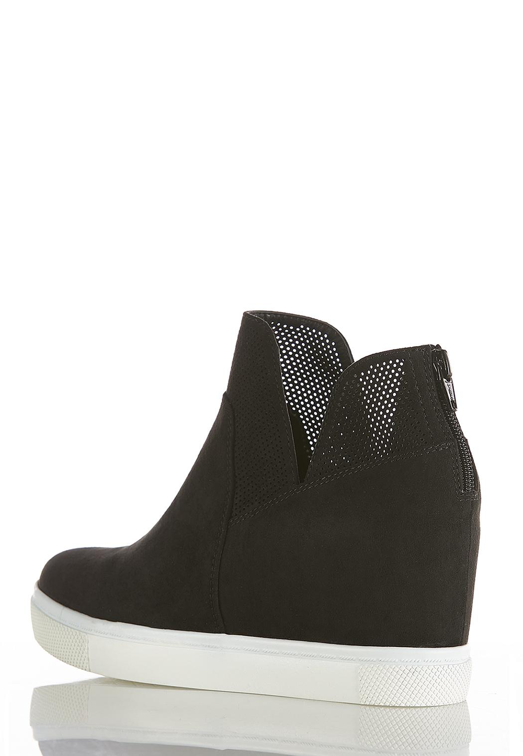 Perforated High-Top Wedge Sneakers (Item #44369040)