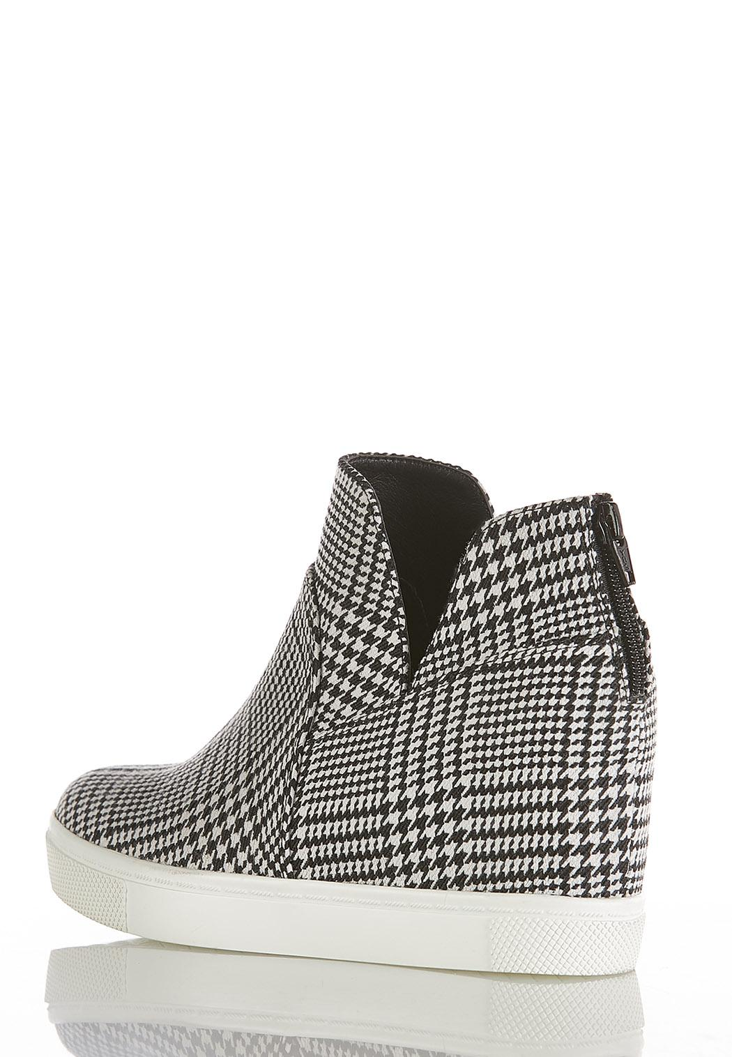 Houndstooth High-Top Wedge Sneakers (Item #44369090)