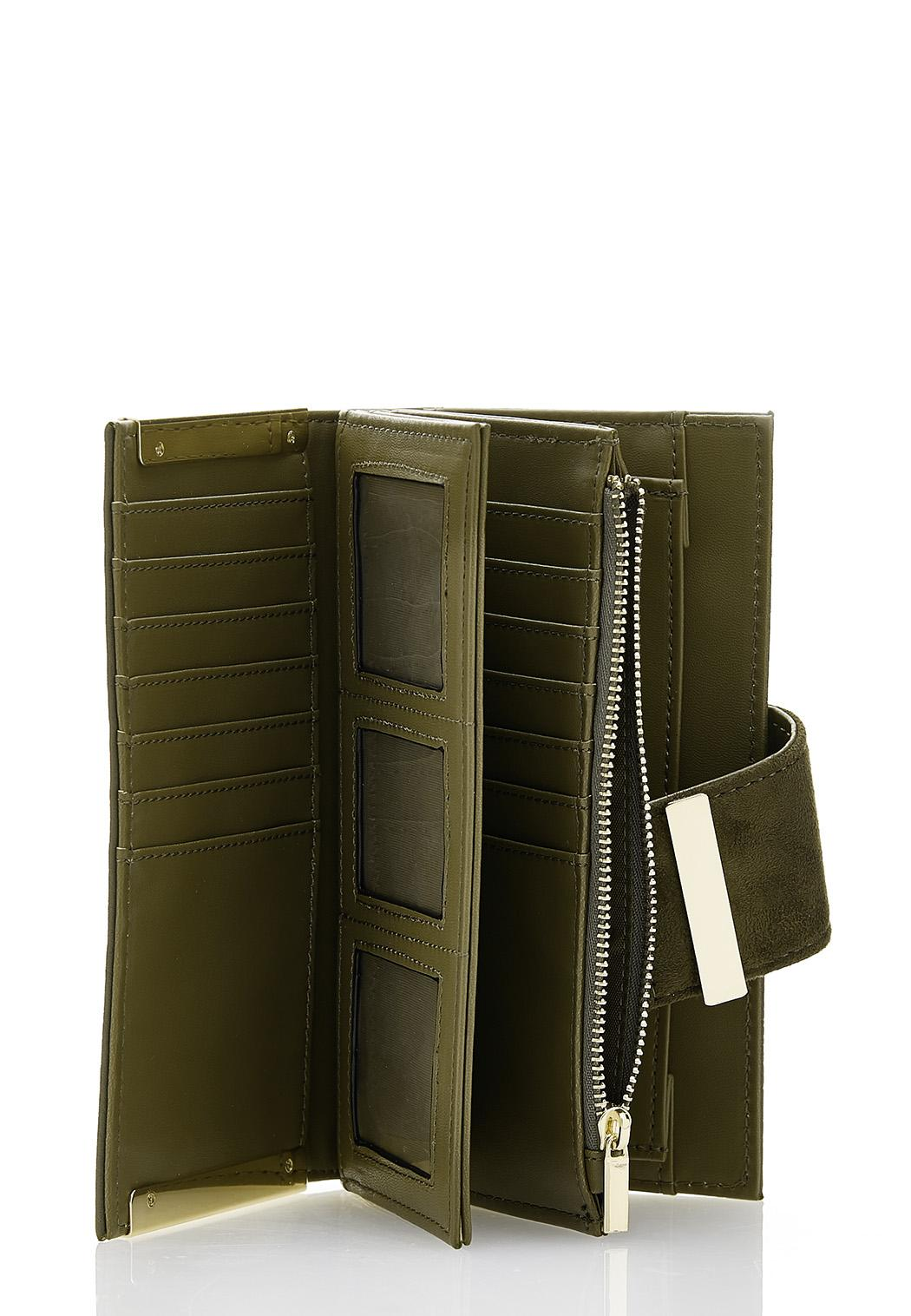 Suede Flap Olive Wallet (Item #44370385)