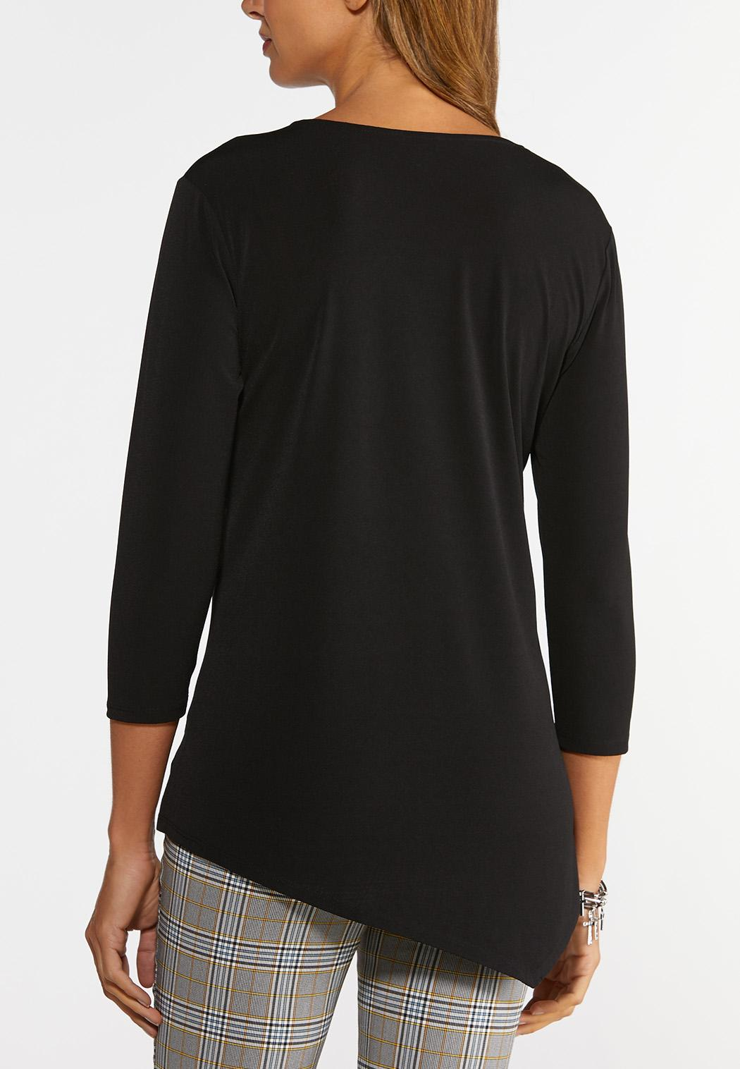 Plus Size Solid Asymmetrical Hem Tunic (Item #44371232)