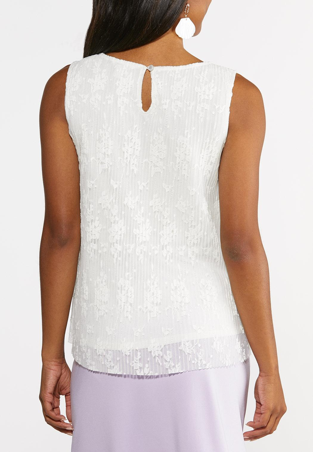 Plus Size Pleated Lace Tank (Item #44371456)