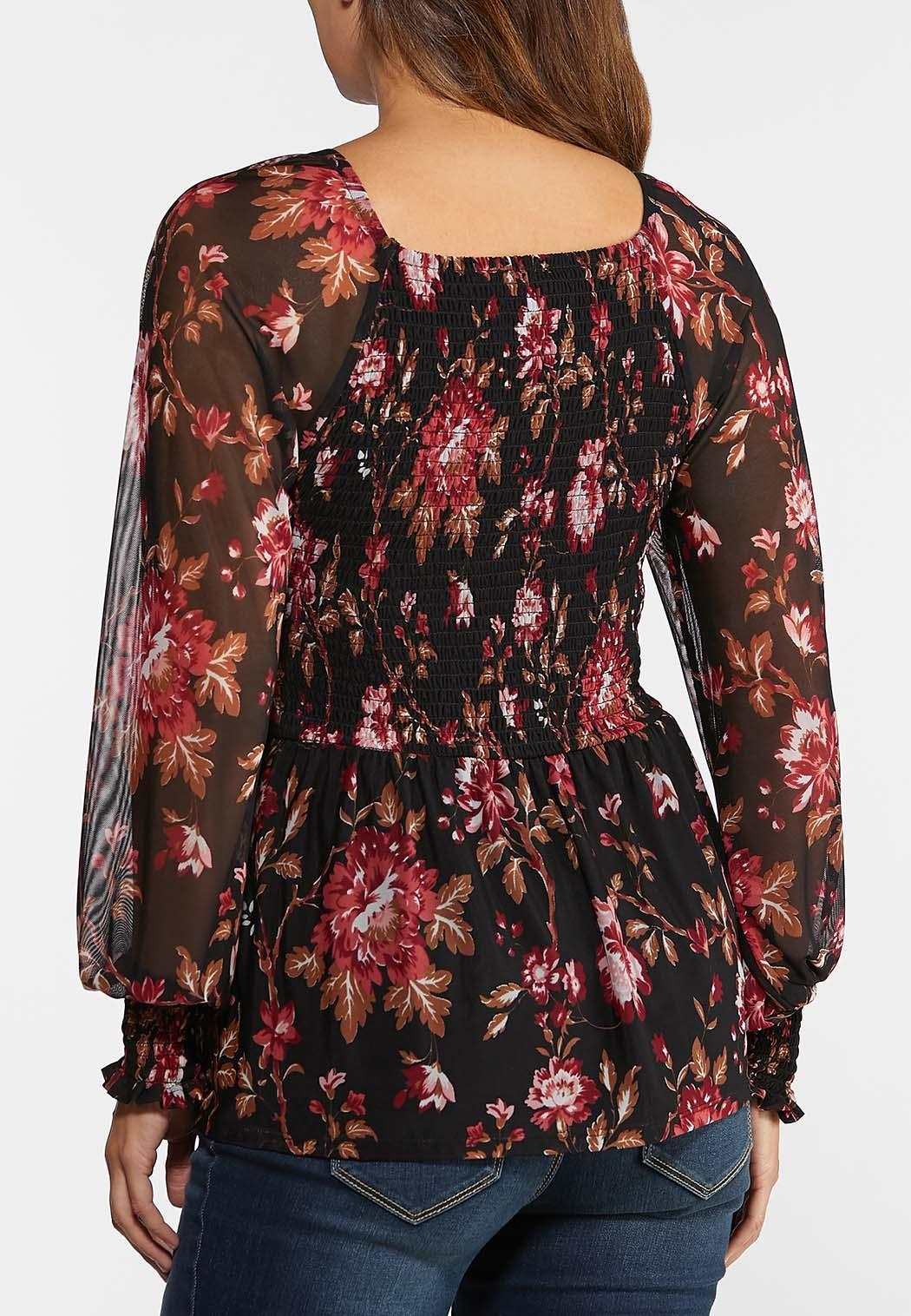 Plus Size Smocked Mesh Sleeve Top (Item #44371504)