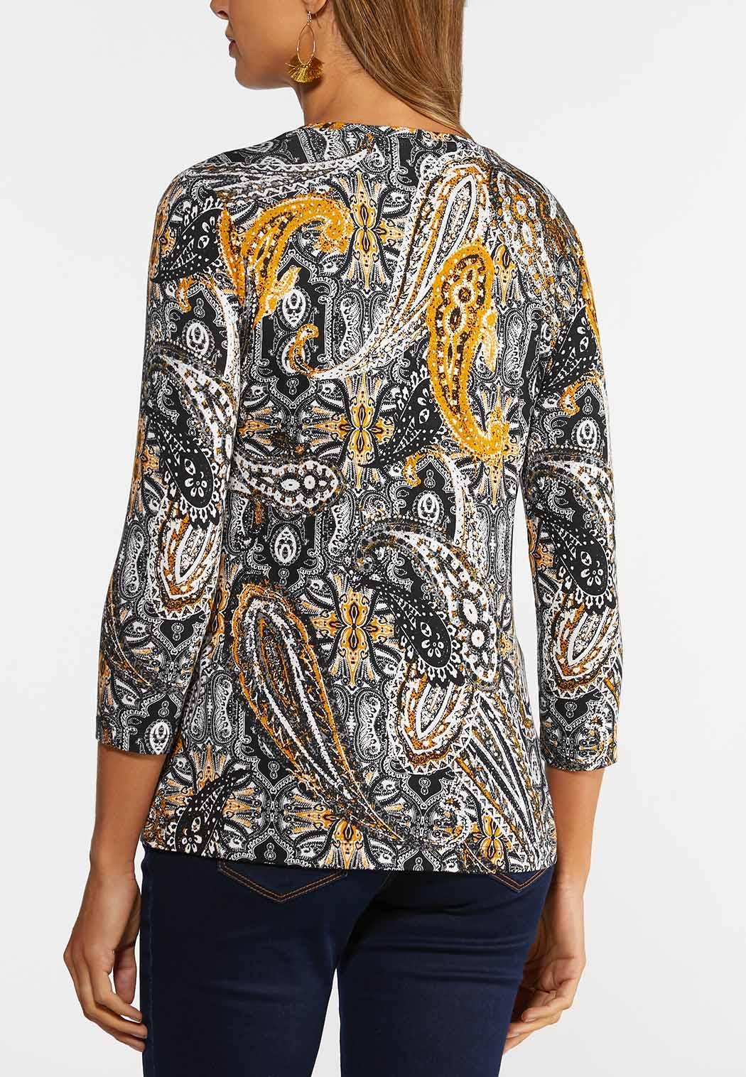 Plus Size Golden Paisley Top (Item #44372166)