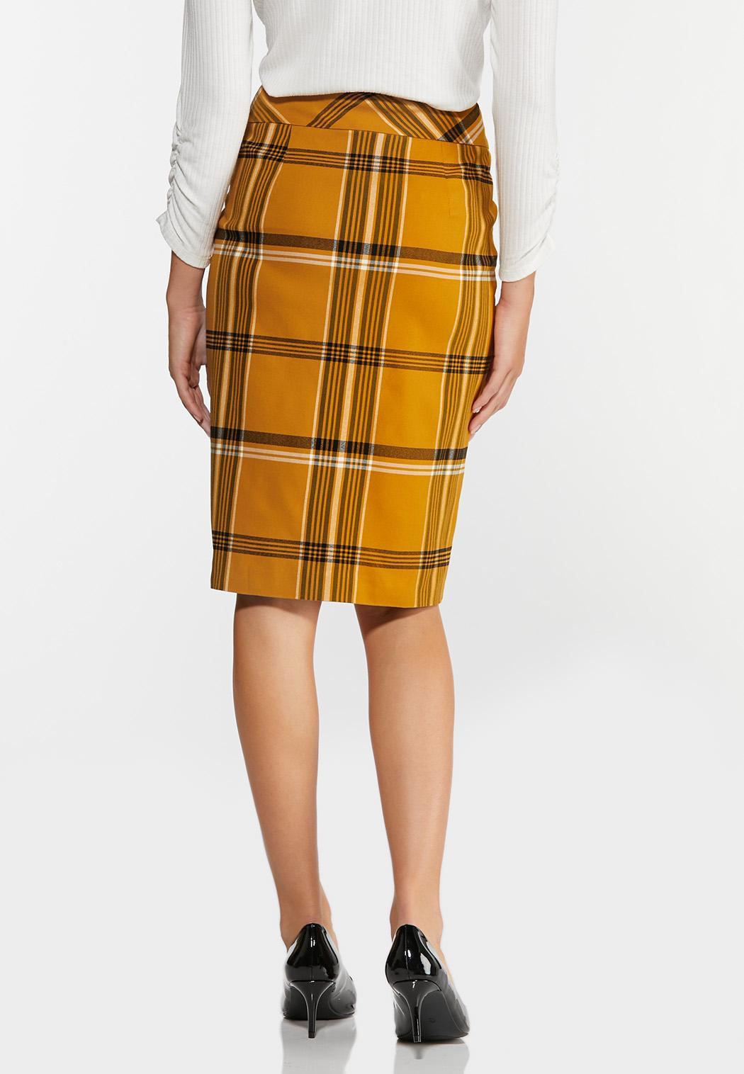 Gold Plaid Pencil Skirt (Item #44372238)