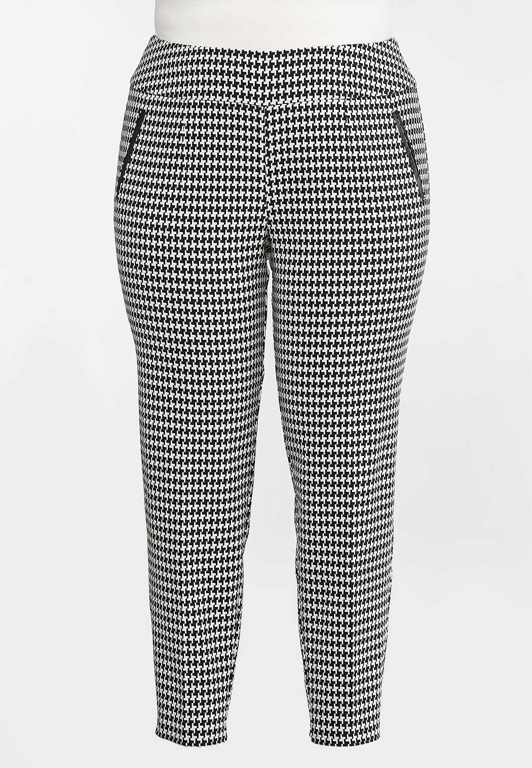 Plus Size Slim Houndstooth Pants (Item #44373113)