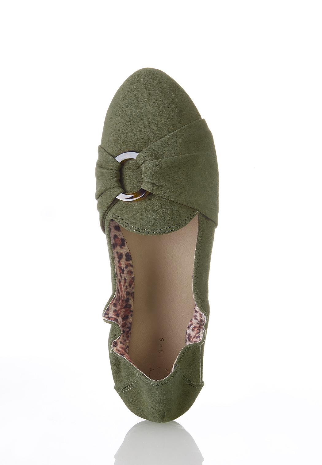 Tort Ring Suede Scrunch Flats (Item #44373441)