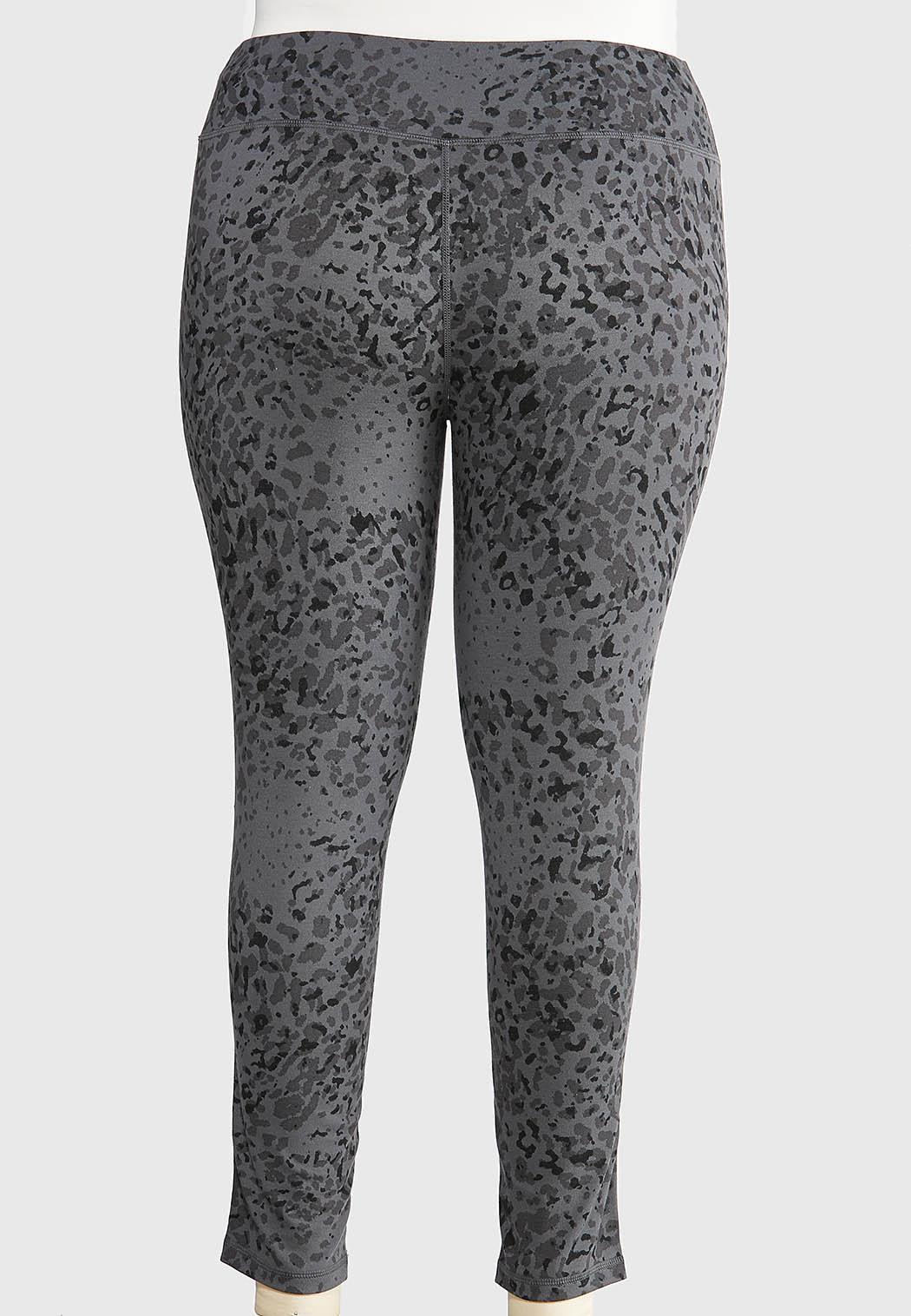 Plus Size Gray Leopard Leggings (Item #44374387)