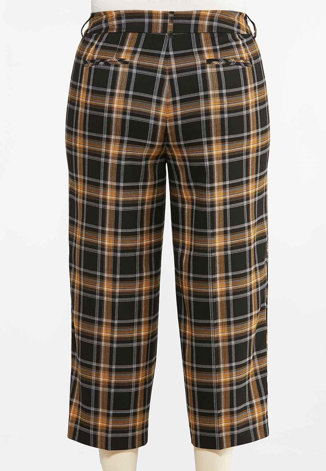 Plus Size Cropped Plaid Pants (Item #44374747)