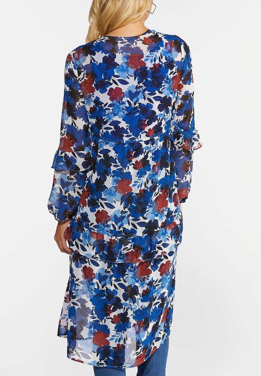 Plus Size Blue Floral Kimono (Item #44375681)