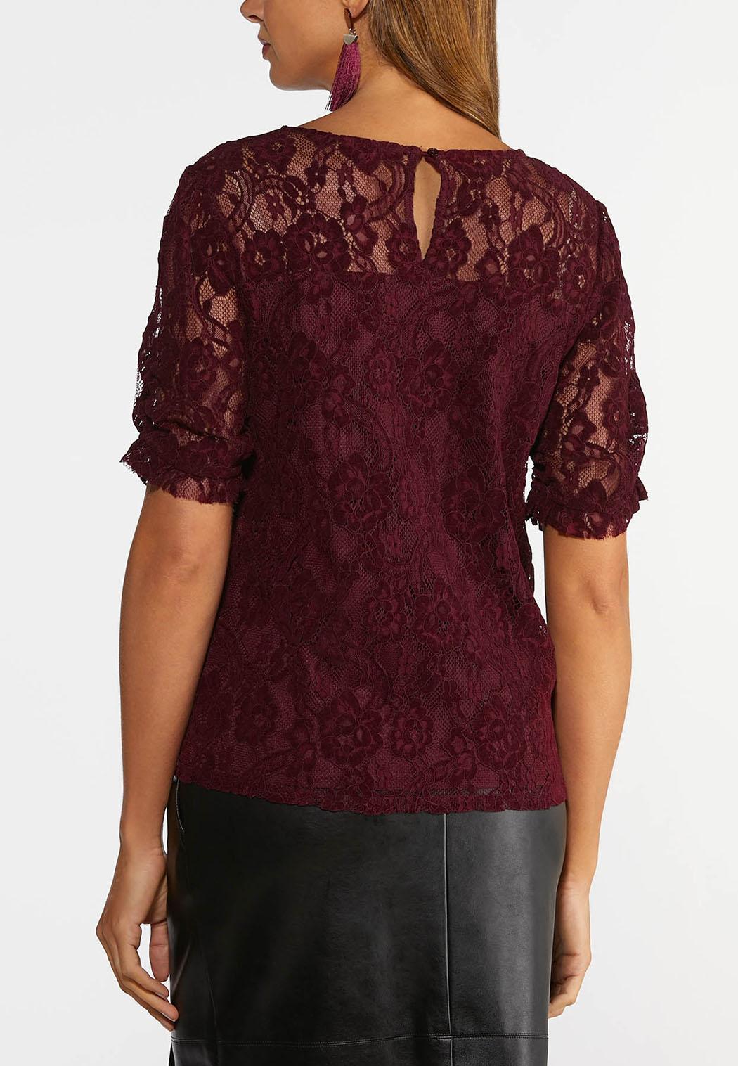 Plus Size Wine Lace Top (Item #44376248)