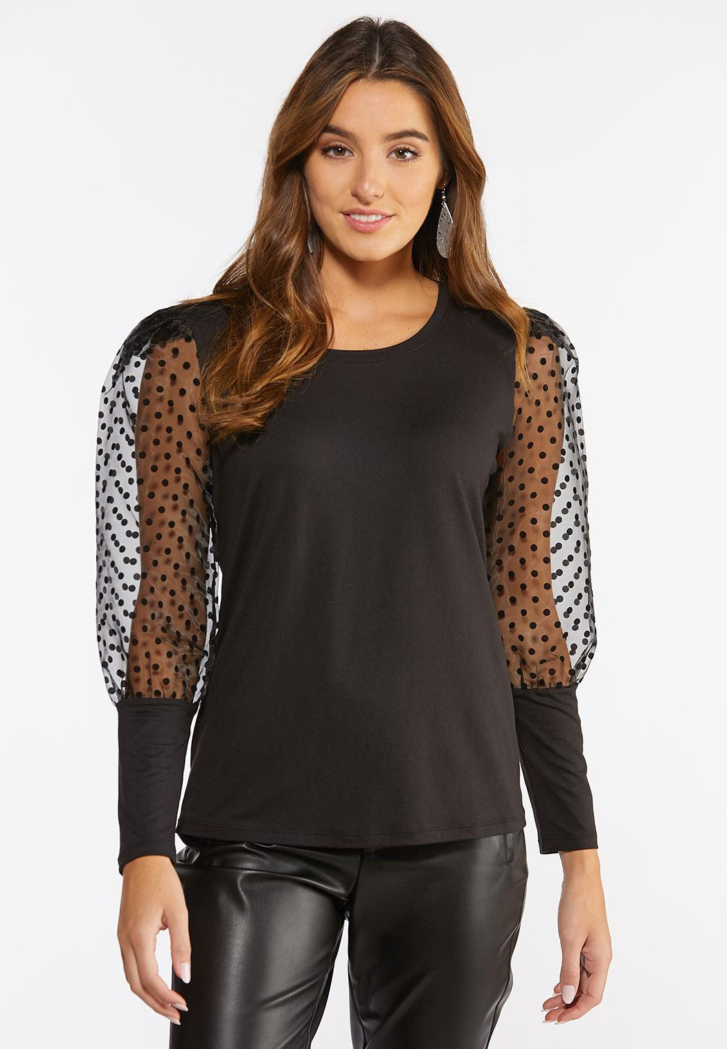 Dotted Puff Sleeve Top (Item #44376582)