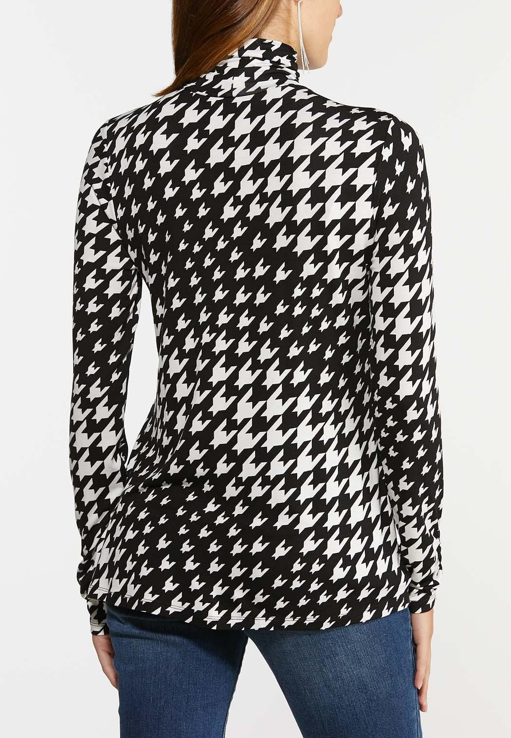 Plus Size Houndstooth Scrunch Turtleneck (Item #44377507)