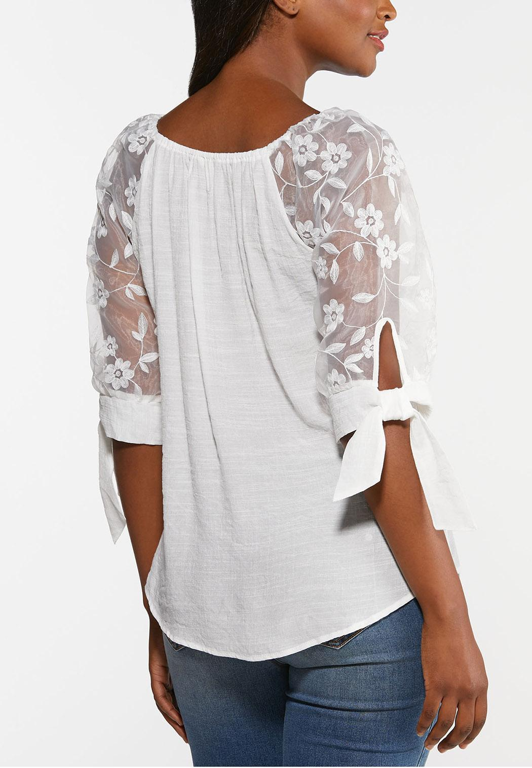 Gauzy Embroidered Sleeve Top (Item #44377572)