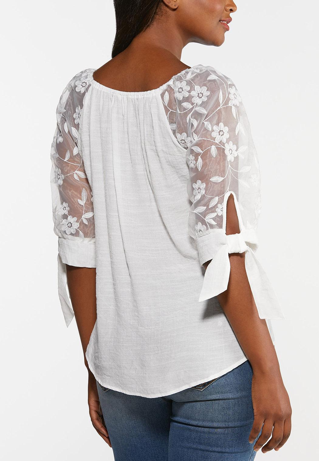 Plus Size Gauzy Embroidered Sleeve Top (Item #44377583)
