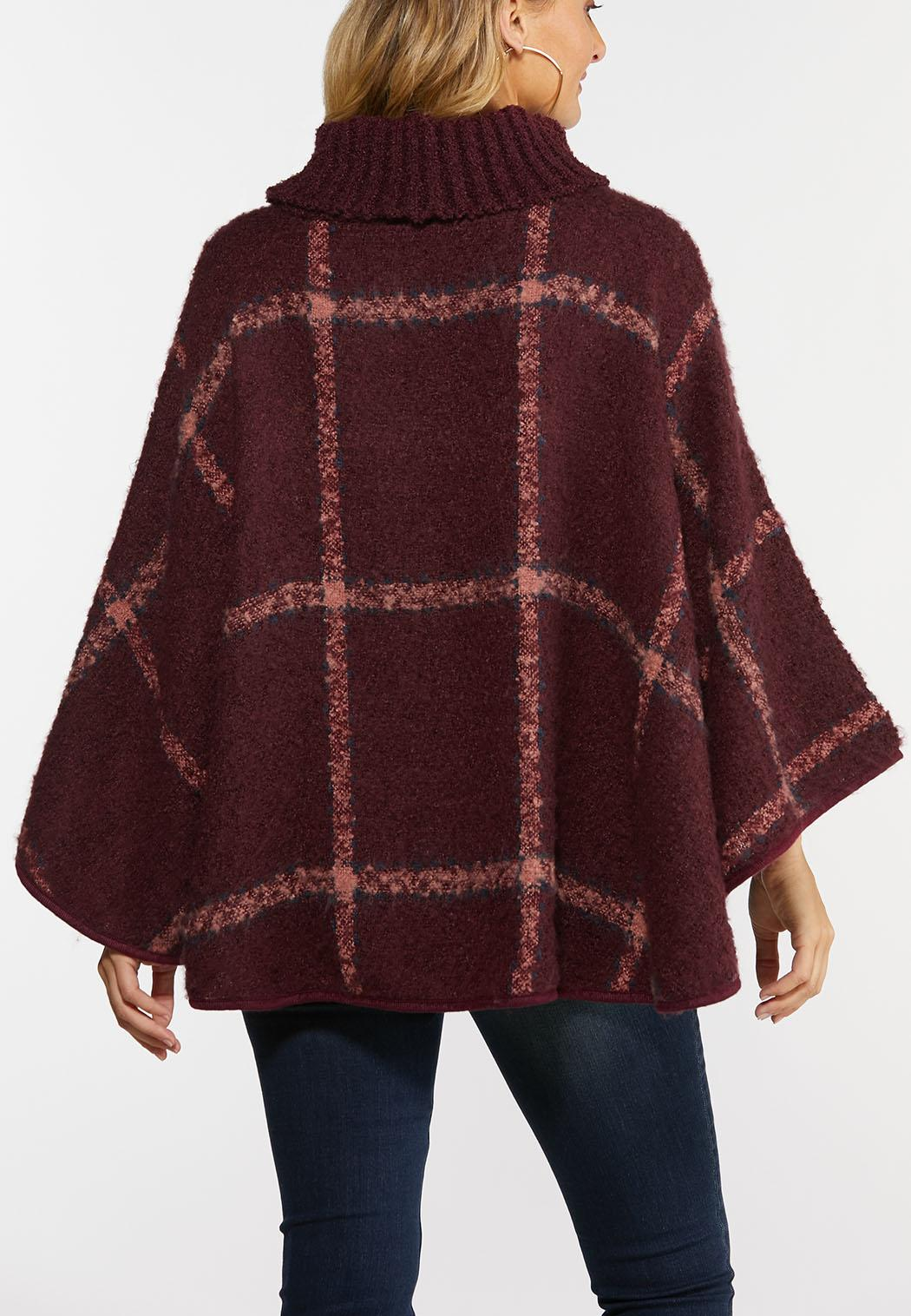 Cowl Plaid Poncho (Item #44378142)
