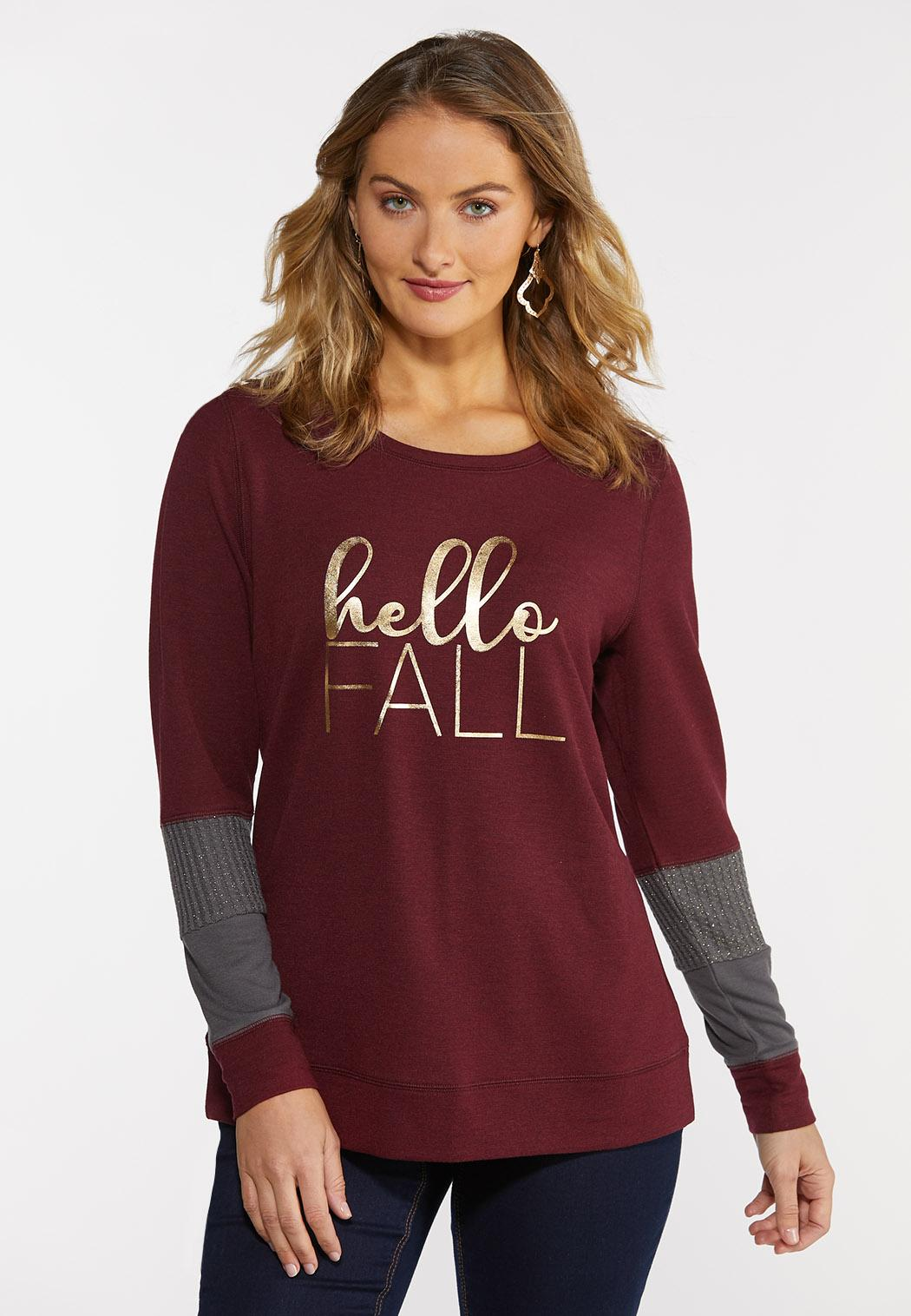 Plus Size Hello Fall Waffle Sleeve Top (Item #44378201)