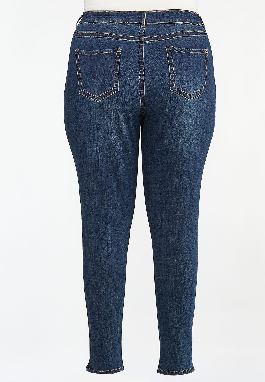 Plus Size Distressed Patchwork Jeans (Item #44378556)
