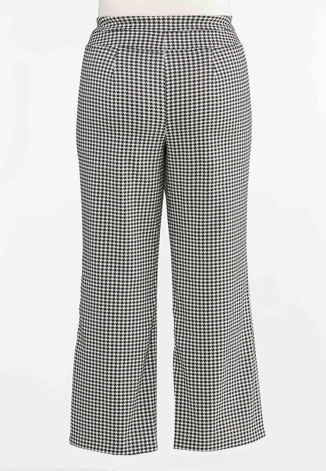 Plus Size Houndstooth Flare Pants (Item #44378701)