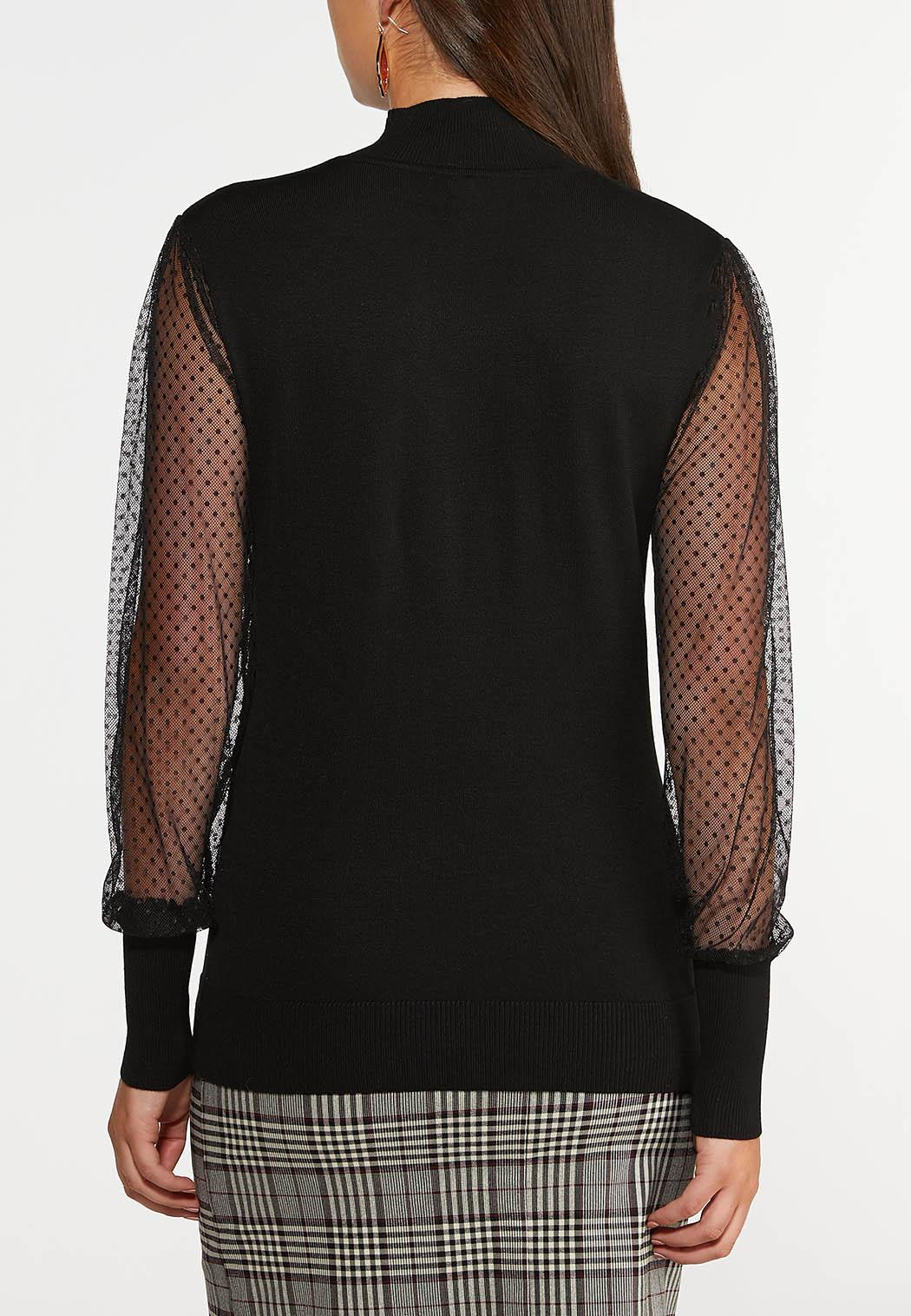 Dotted Mesh Sleeve Top (Item #44378786)