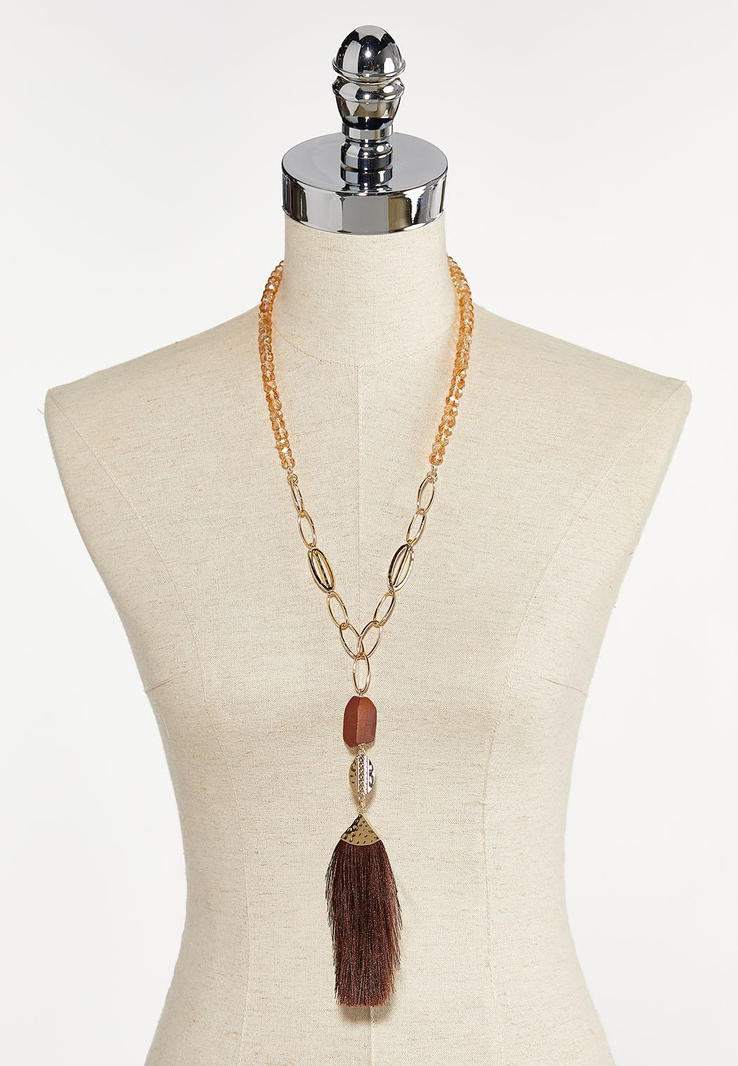 Tasseled Rondelle Bead Necklace (Item #44380107)