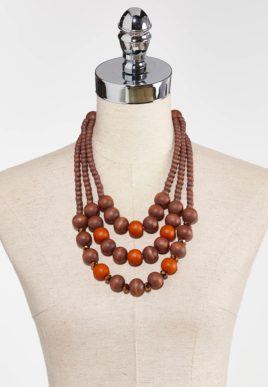 Layered Wooden Bead Necklace (Item #44380147)