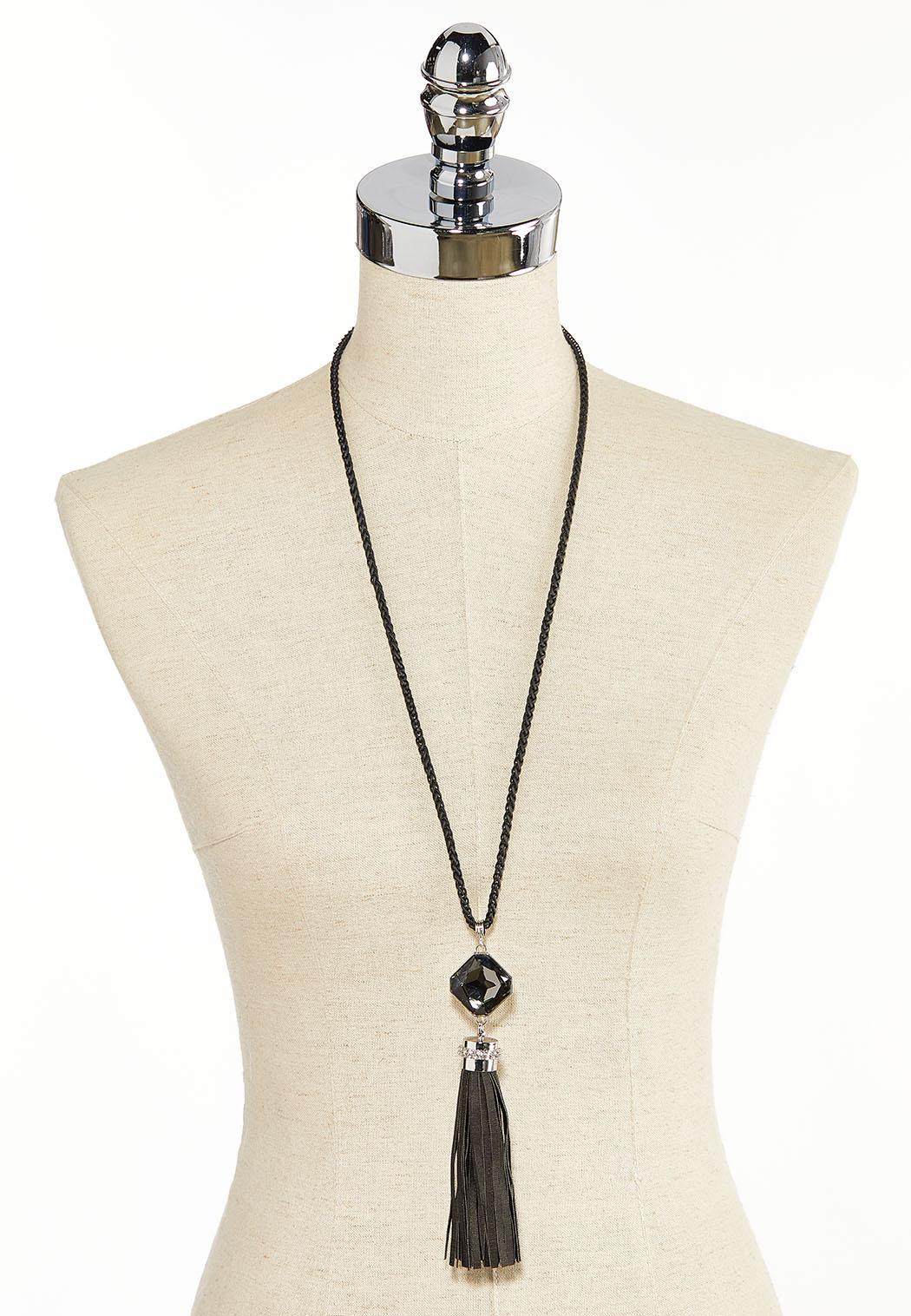 Tasseled Square Glass Pendant Necklace (Item #44380154)