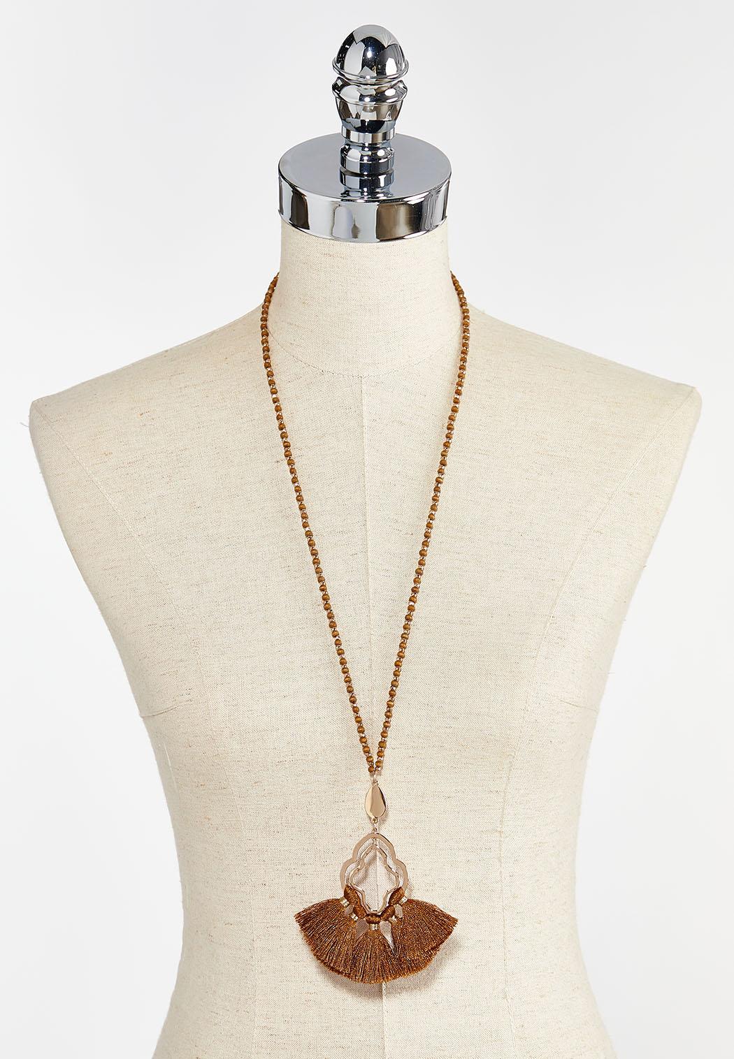 Wood Bead Fan Tassel Necklace (Item #44380446)