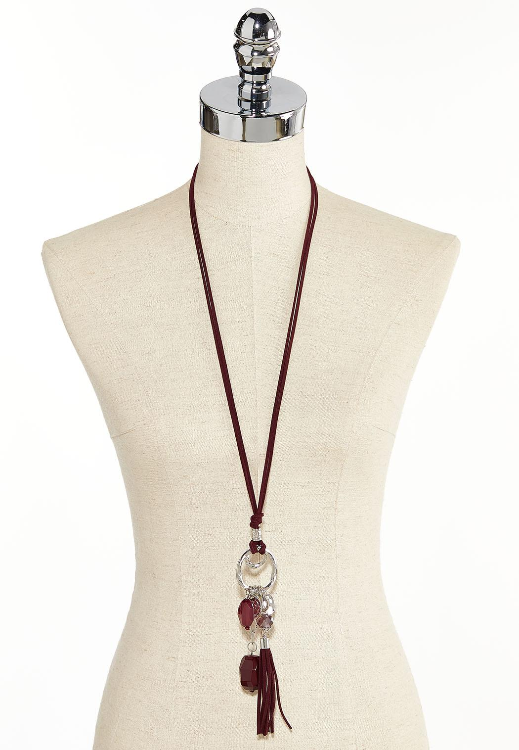 Suede Tassel Charm Pendant Necklace (Item #44380657)