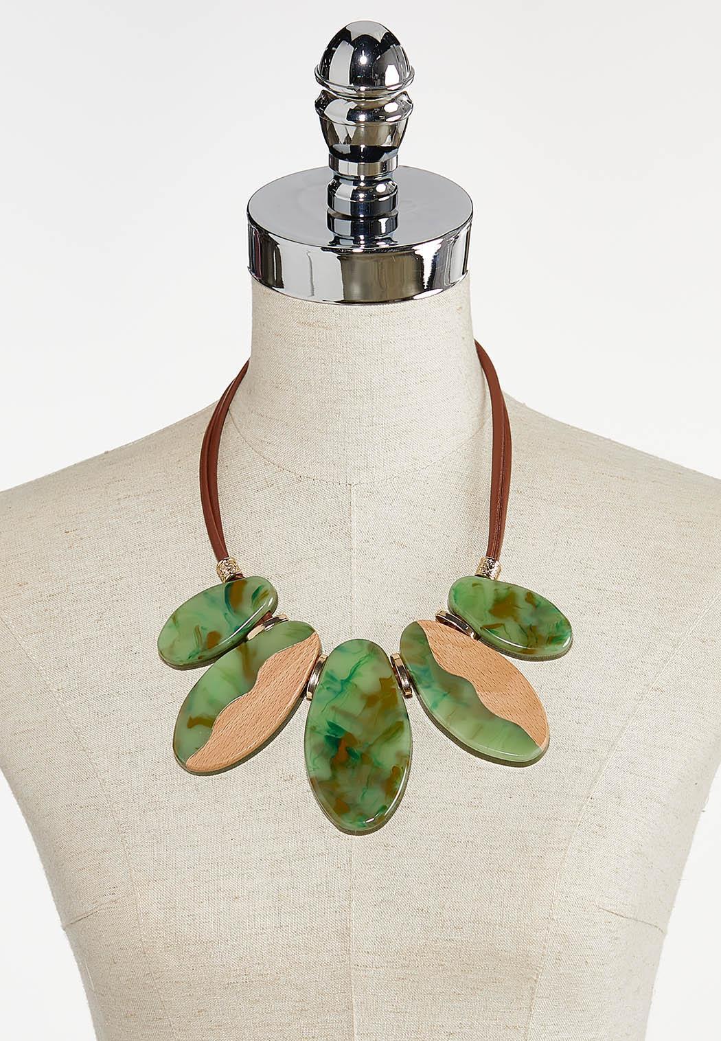 Marbled Lucite Bib Necklace (Item #44380702)