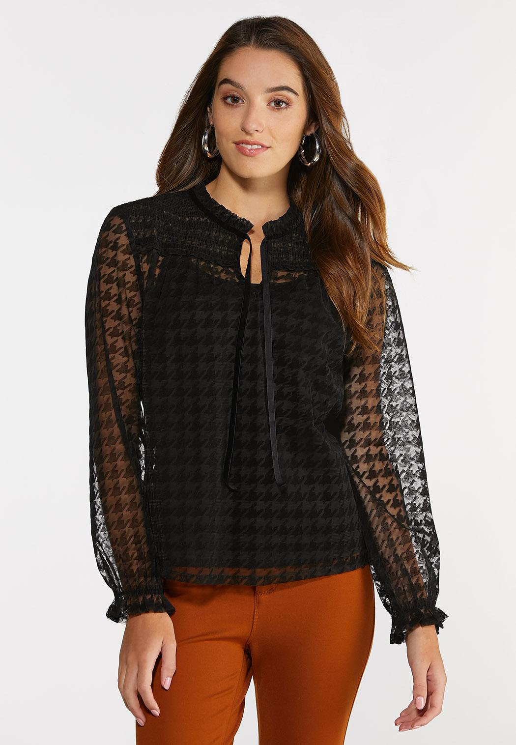 Plus Size Mesh Houndstooth Top (Item #44380717)