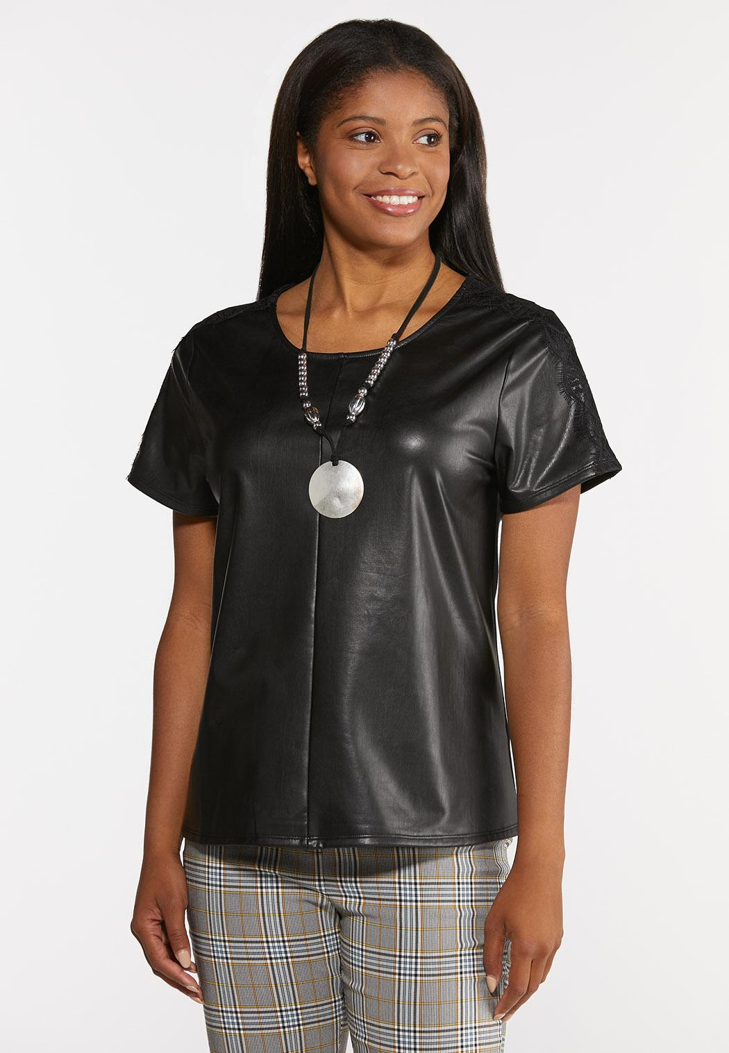 Plus Size Faux Leather Lace Sleeve Top (Item #44380755)